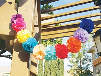 """Flower Frill Fiesta  Flower Frills are perfect for any season! Start designing your own party decorations today! It's easy and fast! Learn how to make a Flower Frill on a stem out of tissue paper. A great idea for decorating your next """"Taco"""" or """"Cinco de Mayo"""" party."""