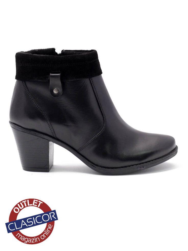 Botine dama din piele negre – 9101 – Pantofi piele online / outlet incaltaminte piele | Clasicor