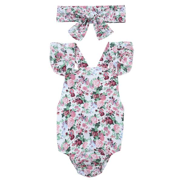 Sweet Baby Floral Ruffle Sleeve Hair Band Two-Piece Crawling Rompers Online-NewChic