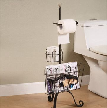 Metal Toilet Paper & Magazine Holder - eclectic - toilet accessories - atlanta - Iron Accents