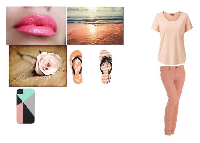 """""""Peach"""" by hayleybanks on Polyvore featuring Roxy and Paige Denim"""