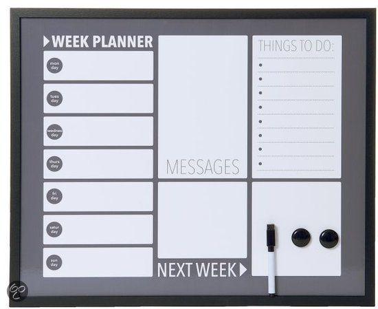 Leuk planbord bol.com | Pt, Memobord Plan - Donker grijs | Wonen
