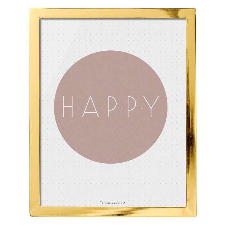 Happy Pink & Gold Framed Wall Art - 3R Studios, White