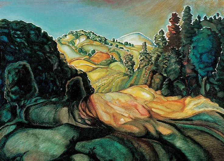 Gr. Batthyány Gyula 1887 –1959 / Táj Hungarian oil painting