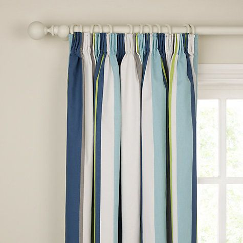 little home at John Lewis Finlay Stripe Pencil Pleat Blackout Lined Curtains, Blue Online at johnlewis.com