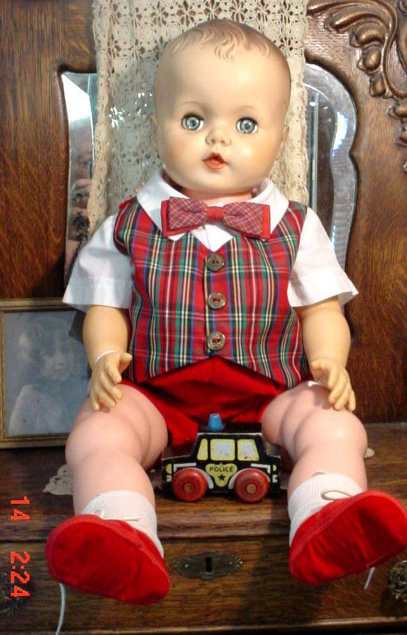 "VTG 1950 Large 24"" Boy Baby Doll Big Vinyl Drink Wet Can Wear Kids Clothes w Tie #unknown #DollswithClothingAccessories"