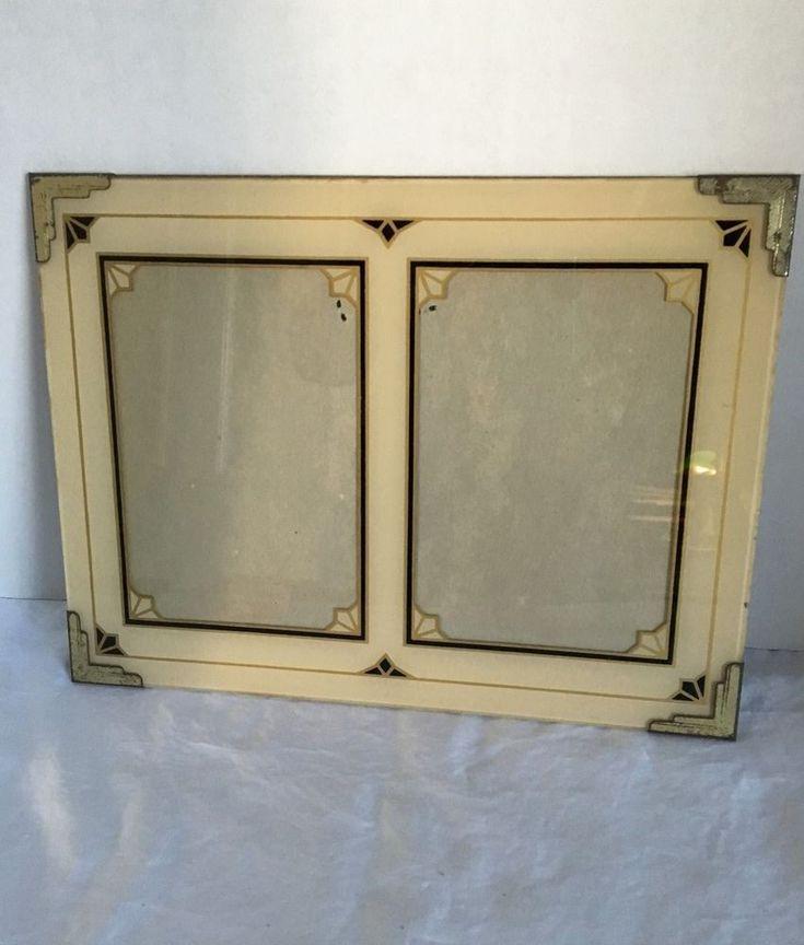 Art Deco Reverse Painted Picture Frame 9 x 12 Double Photo Frame 1930s  #2 #ArtDeco