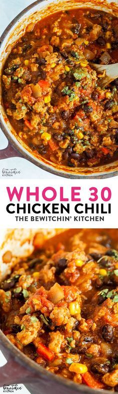 Whole30 Chicken Chili a hearty and healthy chili recipe is lightened up with ground chicken and is whole 30, paleo, and 21 day fix approved. via @RandaDerkson