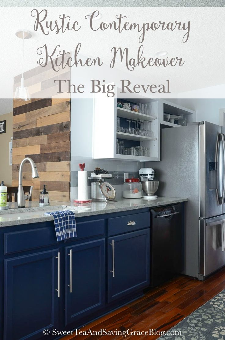Bar pulls for kitchen cabinets - I Love The Blue Cabinets With Bar Pulls In This Kitchen Reveal Form Sweet Tea