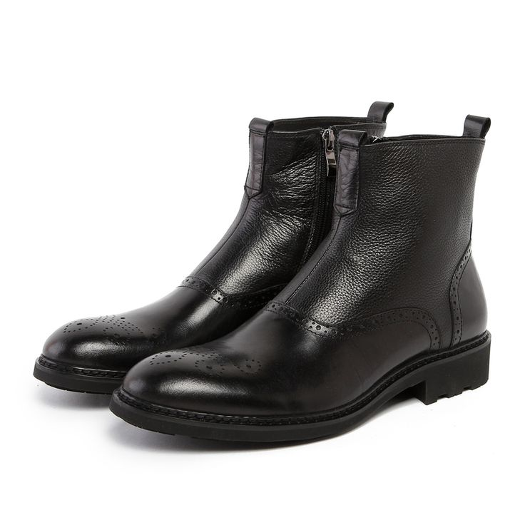 TOP Quality fashion brown tan / black mens ankle boots genuine leather boots shoes breathable mens winter shoes