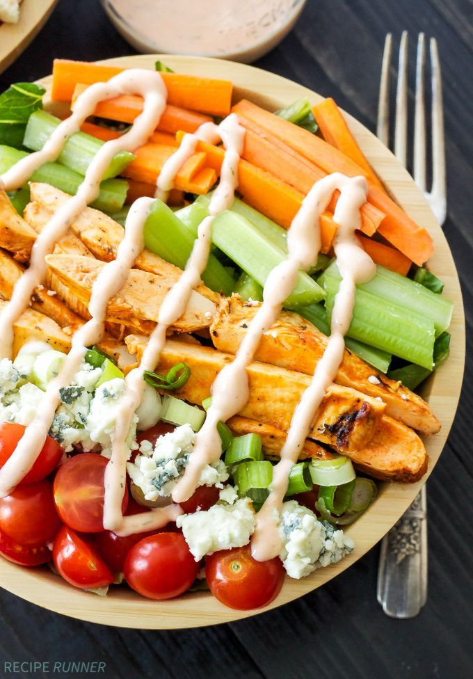 Buffalo Chicken Salad with Spicy Ranch Dressing | Everything you love about buffalo wings without any of the guilt!