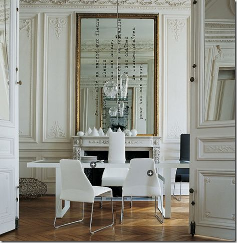 I so love this mirror. #mirror: Dining Rooms, Vinyls Decals, Dreams Home, Mirror Mirror, French Interiors, Diy Art, Quote, Vinyls Letters, Old Mirror