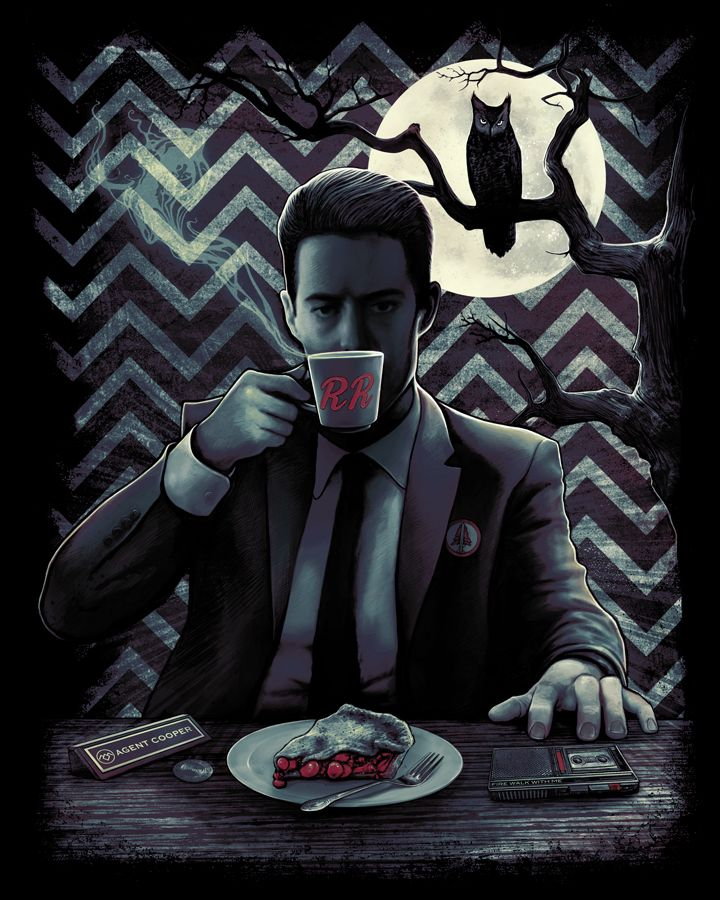 "'Damn Fine Coffee' Twin Peaks T-shirt Design  --->  ""Fright Rags, the purveyor of kick ass horror t-shirts, has added three Twin Peaks designs to their store in honor of today's Twin Peaks Blu-ray release."""