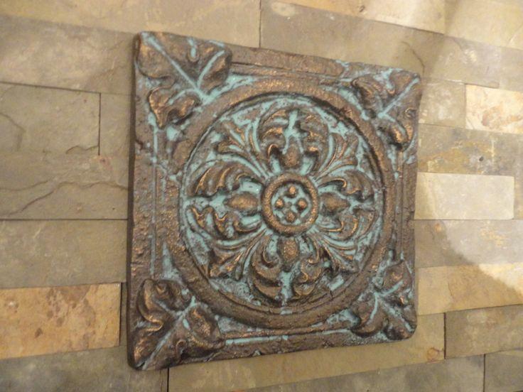 Mediterranean Wall Decor /  Wall Art / Indoor or Outdoor / Patina Blue Rubbed Bronze Finish. $28.50, via Etsy.