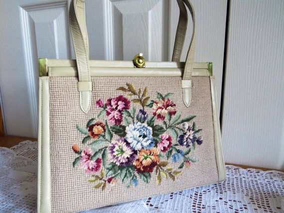 Vintage BEIGE TAPESTRY PURSE Gold Clasp by CreativeWorkStudios, $45.00