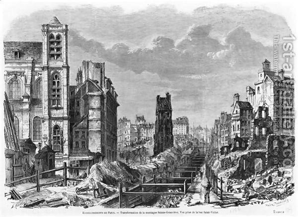 Improvements to Paris, transformation of Montagne Sainte-Genevieve, view taken from rue Saint-Victor, 1877 by Felix Thorigny