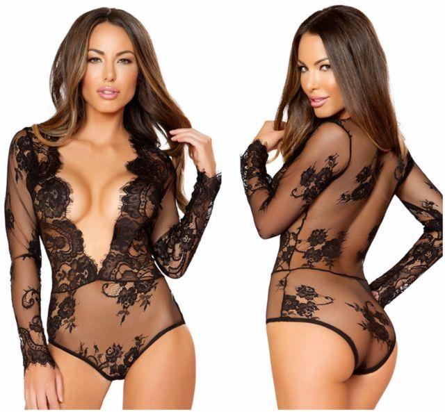 Plus Size AU STOCK Black Eyelash Lace Long Sleeve Bodysuit Teddy Lingerie m-3xl | eBay