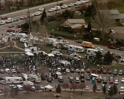 aelur:   This aerial shows the news media compound near Columbine High School in Littleton, Colo., April 21, 1999. Media from around the world poured into the area after 15 people were killed during a shooting spree inside the school.