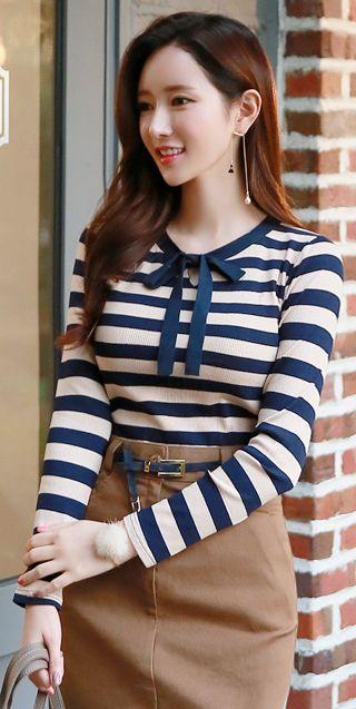 StyleOnme_Ribbon Tie Keyhole Detail Long Sleeve Tee #blue #stripe #feminine #girly #sweet #koreanfashion #falltrend #ribbon #dailylook