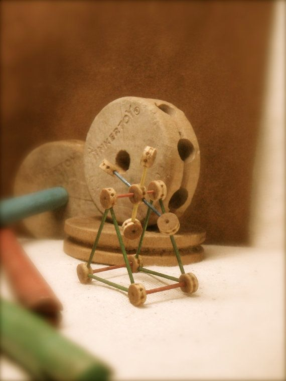 Tiny 1/12th scale wooden vintage Tinker Toy miniature ...