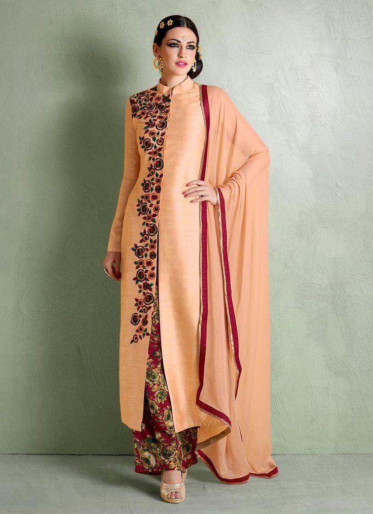 Invigorating Bhagalpuri Silk Designer Palazzo Salwar Suit