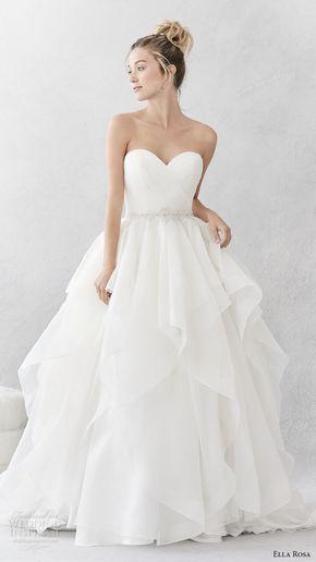ella rosa spring 2017 bridal strapless sweetheart neckline wrap over bodice simple layer skirt ball gown a line wedding dress open back chapel train (376) mv