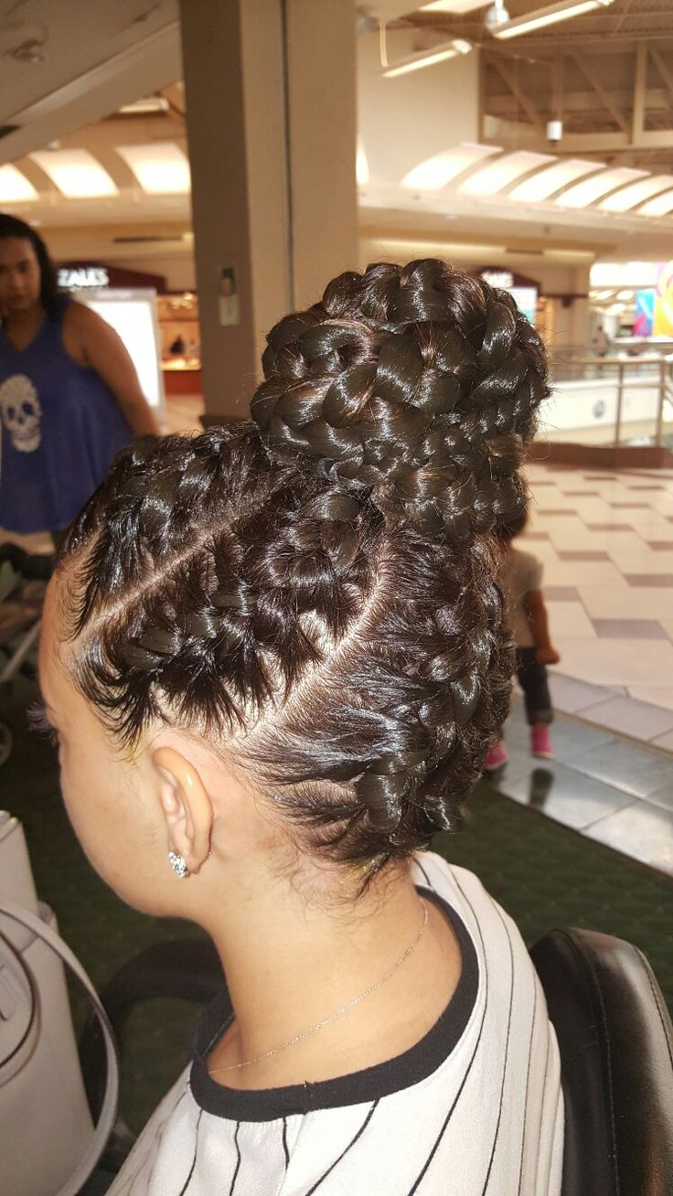 Goddess braids up do.