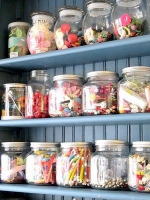 loviesCrafts Supplies Storage, Crafts Room, Storage Jars, Crafts Storage, Crafts Organic, Organic Crafts, Mason Jars, Art Supplies, Storage Ideas