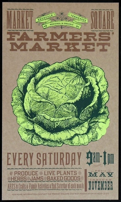 A really great retro farmers' market poster. Look at how few colours are used. Inspiration for art time?