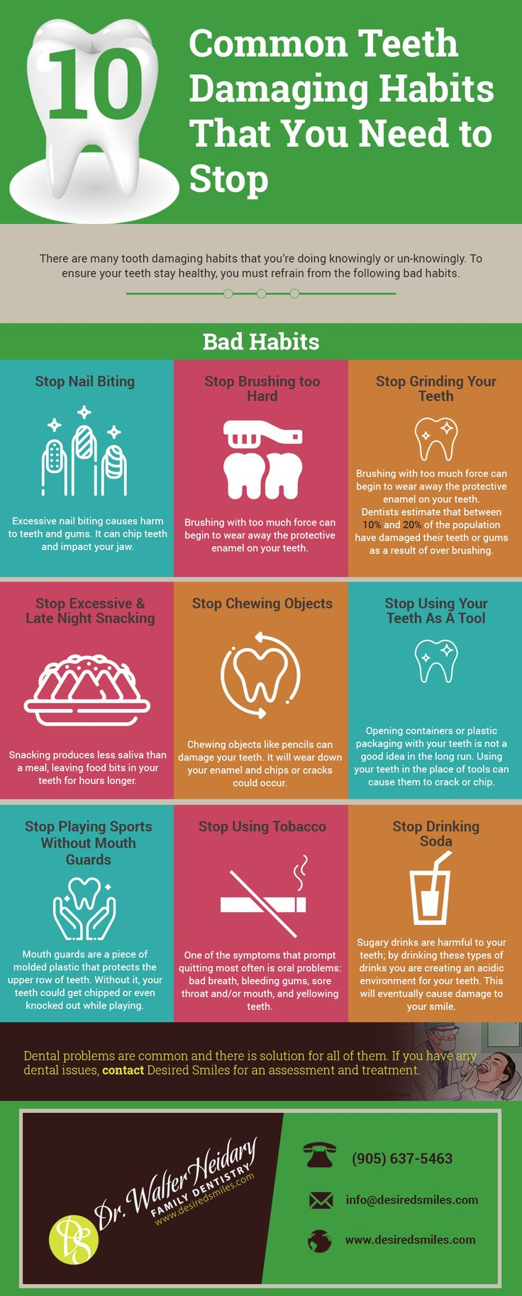 10 Common Teeth Damaging Habits That You Need to Stop Today.  Bad Habits are the cause of most of the dental problems. Read this infographic to understand the common bad habits and how they harm your teeth. Desired Smiles provides a solution for all of your dental problem. Call 905-637-5463 or visit www.desiredsmiles.com for any queries.