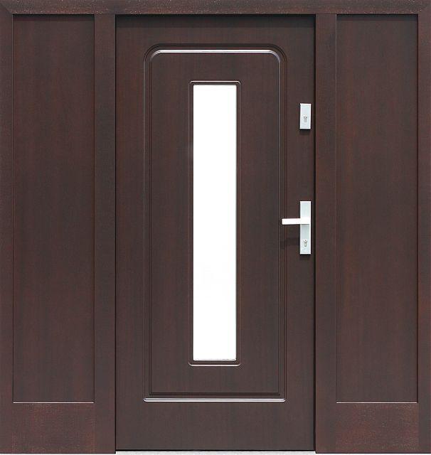 Drzwi zewnętrzne z doświetlami dostawkami bocznymi model z szybą wzór 572s3 w kolorze dąb bagienny.