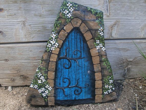 195 best rock fairy houses images on pinterest fairy for Painted fairy doors