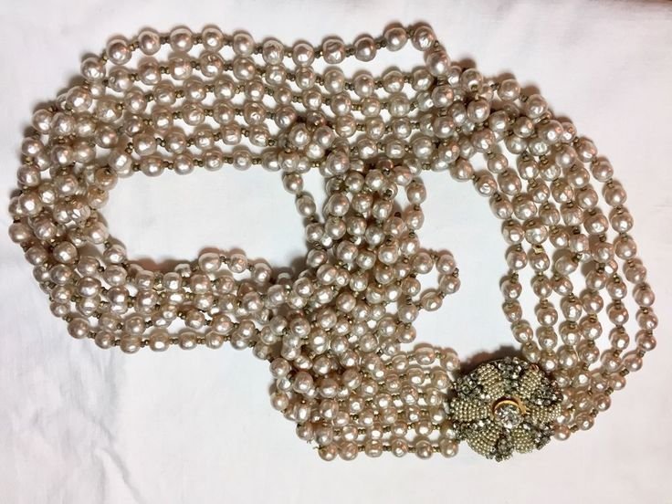 "Miriam Haskell multi-strand long Pearl Necklace..approx. 22"" long #MiriamHaskell #StrandString"