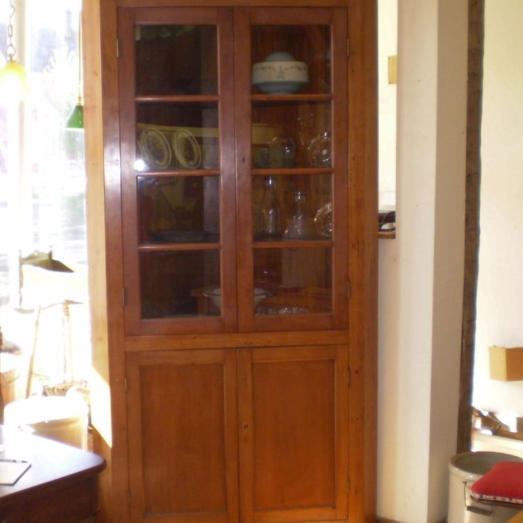 Antique Corner Cabinet With Glass Doors
