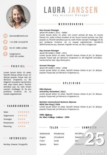 CV sjabloon in Word. 2 kleurenversies in 1 pakket, inclusief volgpagina template: http://deleydsche.nl/product/cv-sjabloon-25