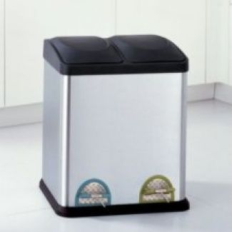 Neu Home Two Compartment Step on Recycling Bin in Stainless Steel and Black, 7.93 Gal $95.95