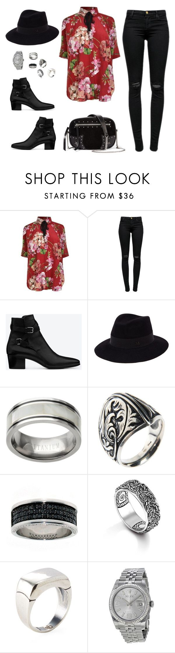 """If Harry Styles was a girl"" by dasha-bykanova ❤ liked on Polyvore featuring Gucci, J Brand, Yves Saint Laurent, Maison Michel, Manuel Bozzi, John Hardy, Degs & Sal, Rolex and Karl Lagerfeld"