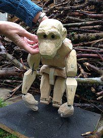 Monkey, carved wood puppet.
