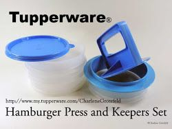 We make our own burgers at home and use the Hamburger Press and Keepers every summer for the grill.  Mix all the ingredients in a bowl, portion to the size burger desired, press into the keeper.  Any extra burgers made are frozen for future use. Tupperware® Hamburger Press and Keepers Set......#tupperware Shop the Spring/Summer 2014 at my Tupperware shop http://www.my.tupperware.com/CharleneGrotefeld