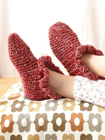 Ruffle Edge Slippers | Yarn | Free Knitting Patterns | Crochet Patterns | Yarnspirations