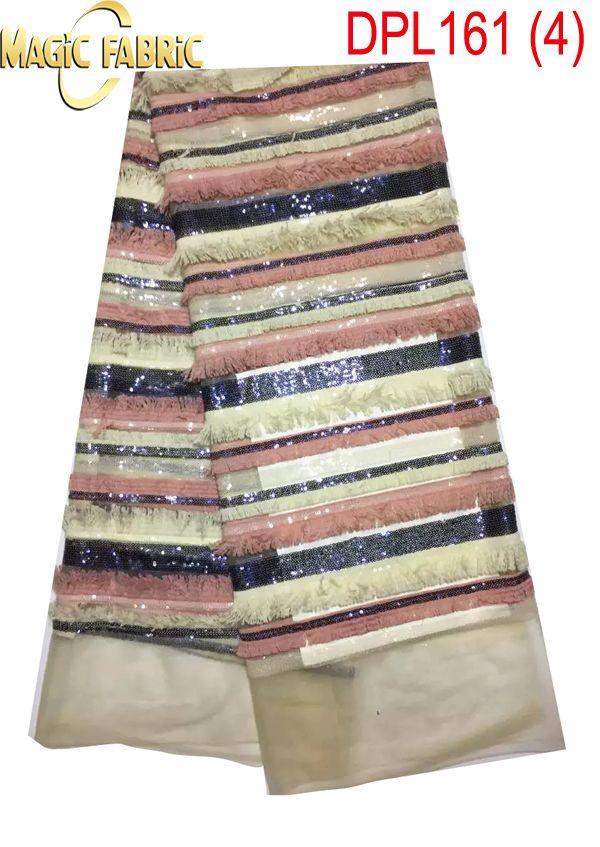 Высокое Качество Африки Французский Чистая Кружевная Ткань С Пайетками Вышивка Тюль Чистая Кружева Для Свадебного DPL161 4 купить на AliExpress