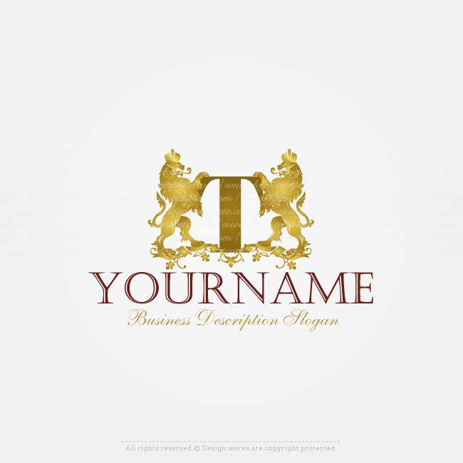 Logos Stores - Buy a Logo Online - Ready made Royal Lion logo design for sale onlinewith a crest golden lionslogo image and your alphabet letter. Design your own logo online with our freelogo maker.Use our logo creator tochange your company logo, slogan, text, colors, fonts and more.