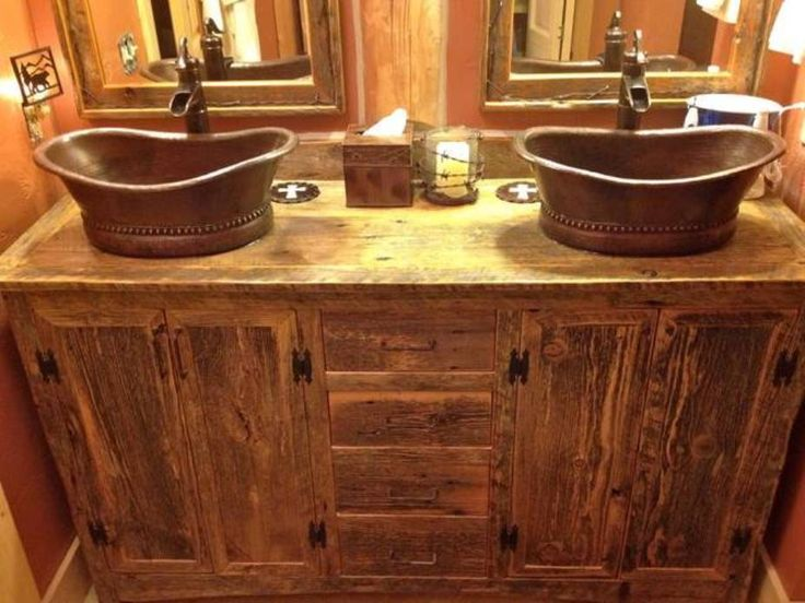 Furniture , Rustic Bathroom Vanity Cabinets : Bathroom Vanity Cabinets  Rustic Style With Copper Vessel Sinks Part 86