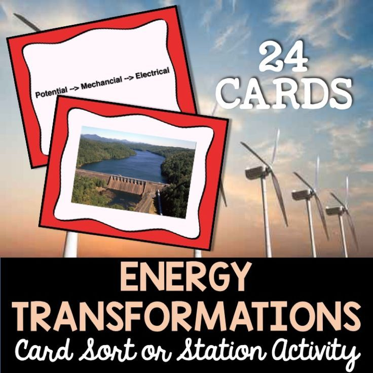 Energy transformations card sort activity.  Use as review or a manipulative for new learning