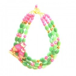 Available Rp. 1,250,000   $125 Green Aventurine, Pink Agate and Crystal Brooch