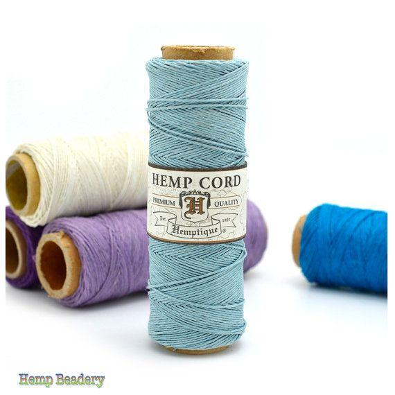 Hemp Cord,  0.5mm, 205 feet,   Hemp Thread, Micro Macrame Cord, Bead Cord, Light Blue -TW7