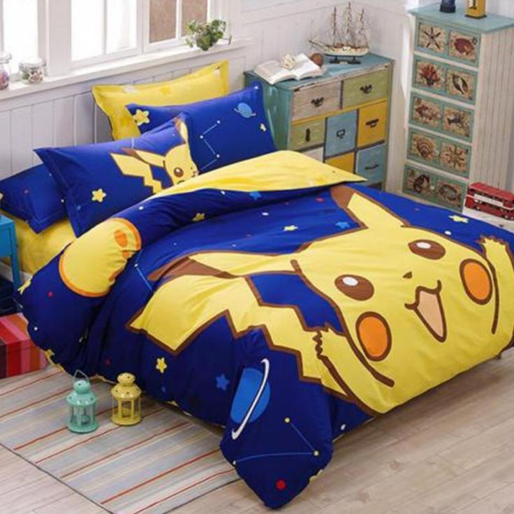 Pokemon Bedding Set Cartoon Kids Favorite Home Textile Bed Sheet 100% cotton Material#pokemon bedding set
