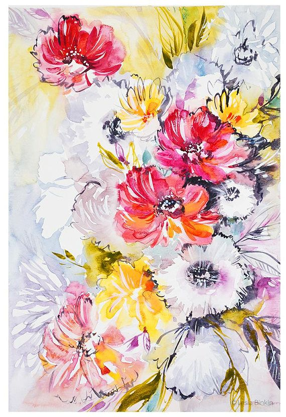 watercolor flowers print red yellow flower art abstract floral