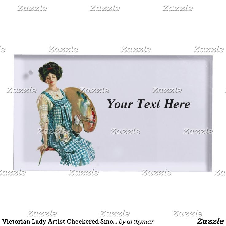 Victorian Lady Artist Checkered Smock Paints Place Card Holder