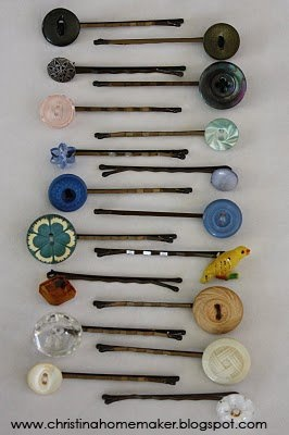 Re-use old buttons. Simply super/hot glue buttons onto the end of a bobby pin for a vintage look. #diy #hair